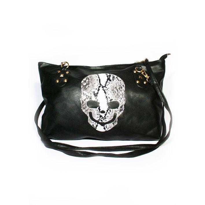 Grote stoere zwarte tas met phyton print skull, nu voor maar 29 EURO op www.fabstyle.nl