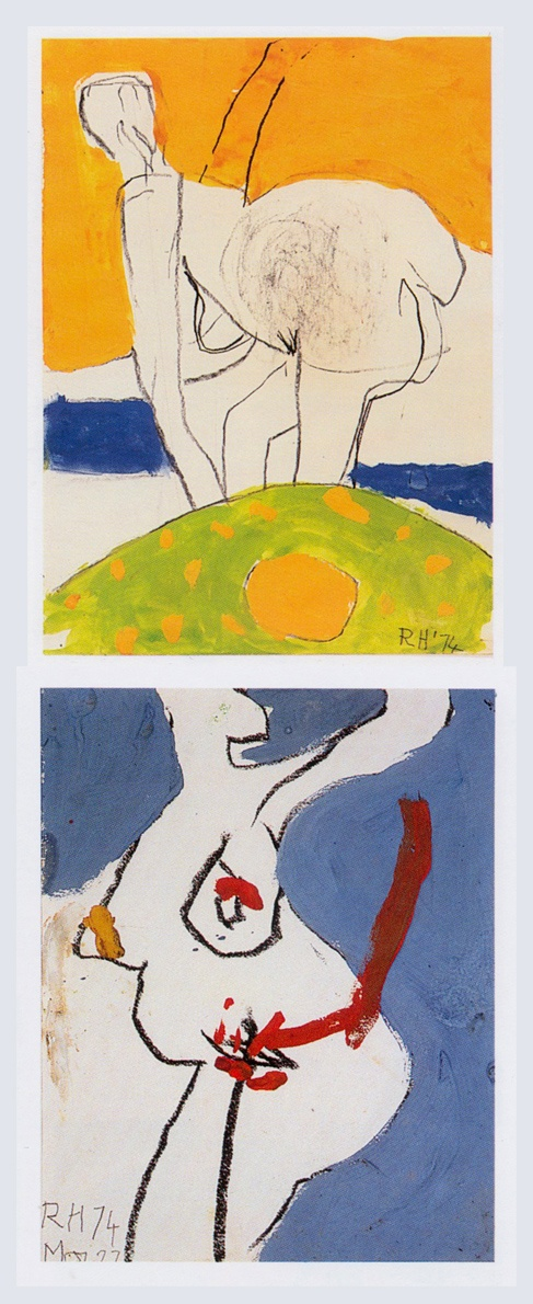 2 gouaches by Roger Hilton 1974