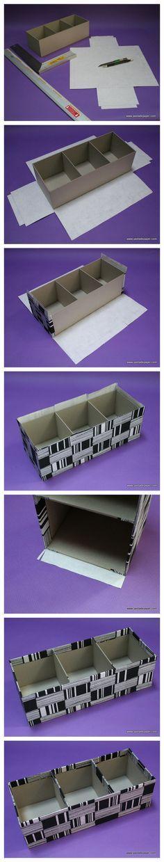 Cómo se hace una caja de cartón gris con compartimentos: forra la caja. Paso3.