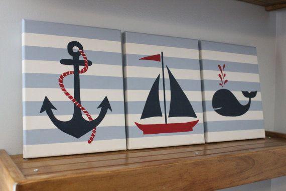 Barca a vela pittura nautica vivaio quanto di JessieAnnCreations