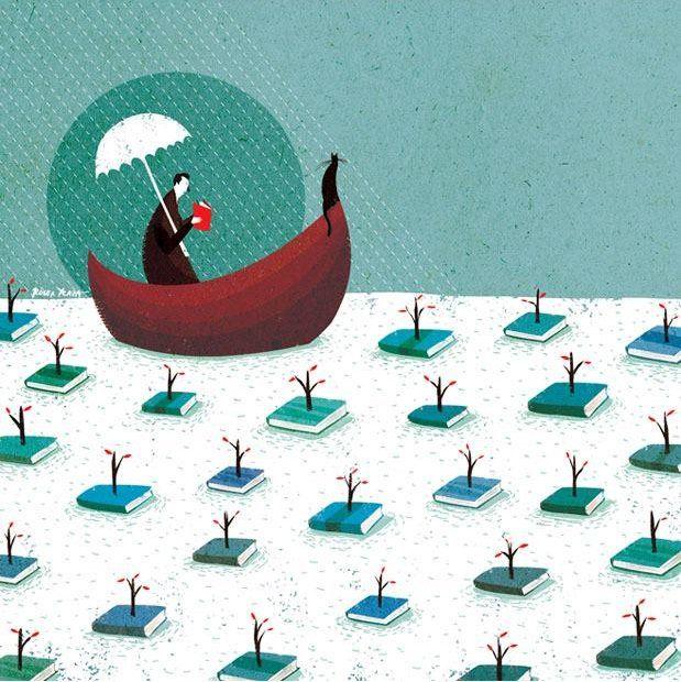 """""""Para viajar lejos, no hay mejor nave que un libro"""". Emily Dickinson  ¡Buen día, mundo derrapero! #BuenViernes Ilustración de Roger Ycaza."""