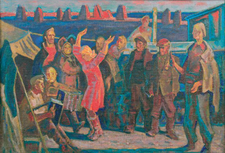 """Аникеев Михаил Корнеевич Картина """"Праздник урожая"""", 1955г. 90x60"""