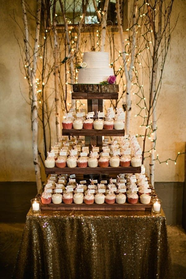 Wedding cake + cupcake tower | Image by Amanda Basteen