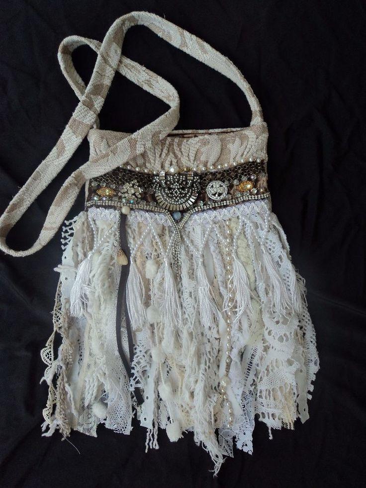 Handmade Vintage Lace Fringe Bag Hippie Boho Shabby Chic Cross Body Purse tmyers #Handmade #MessengerCrossBody