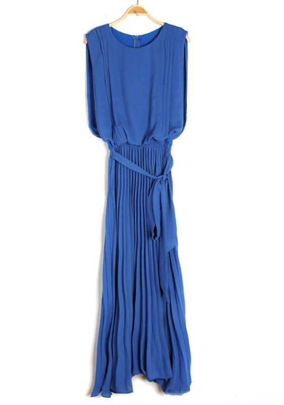 Blue Irregular Belt Zipper Sleeveless Chiffon Dress