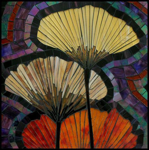 Ginko Leaves Small Mosaic Artwork in Rich Colors with Ginko Leaves