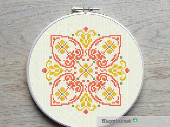 modern cross stitch pattern, geometric bohemian ornament, PDF ** instant download**