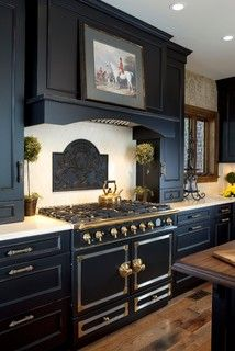 Kitchen   Beautiful La Cornue Range In Black With Matching Black Cabinets    Gorgeous | Kitchen