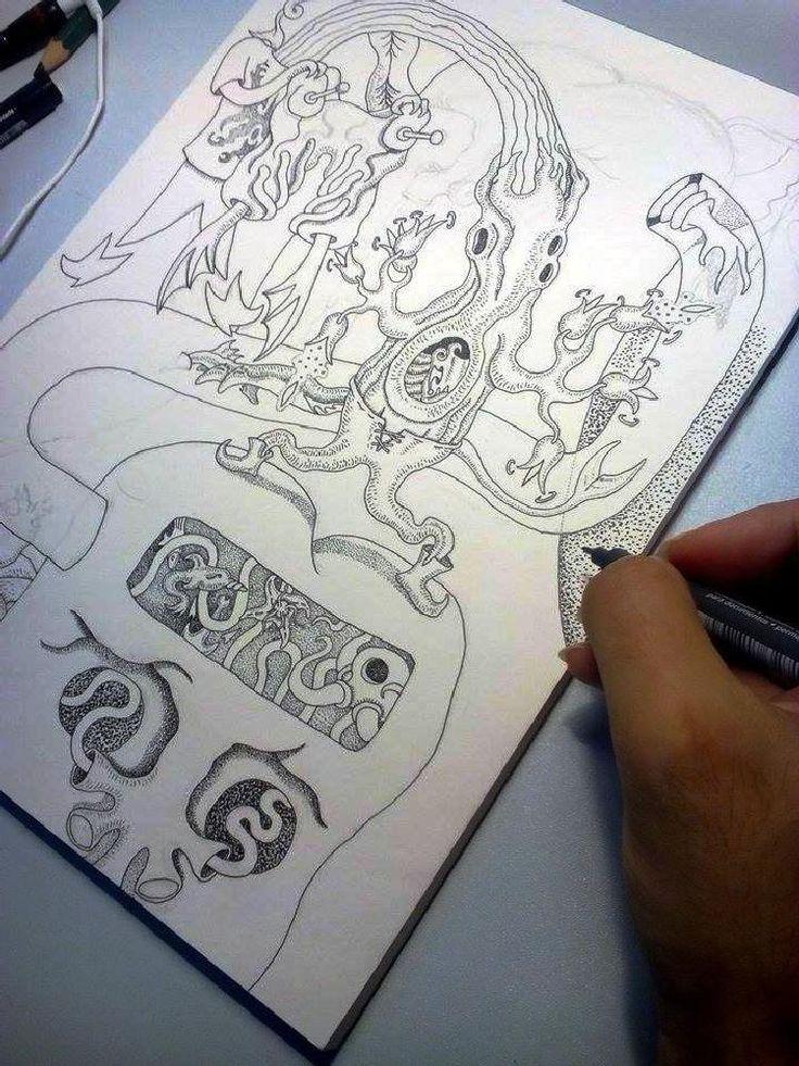 Laz at work-Inking one of my weird worlds by lazaros.kalogirou