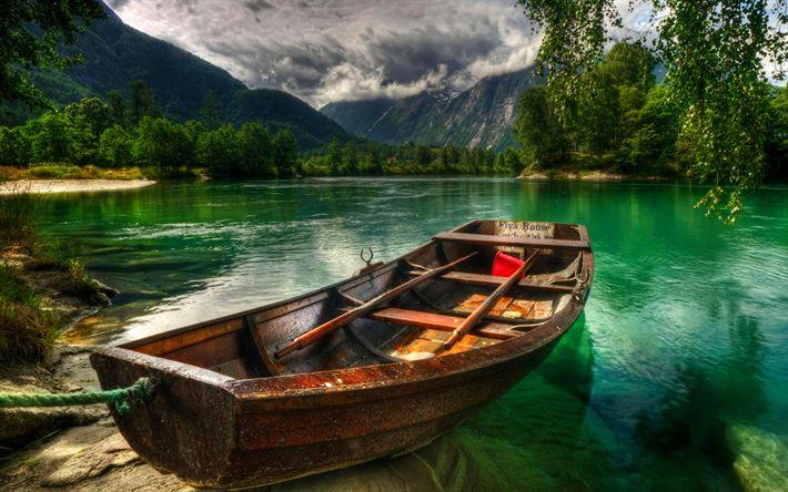 Herunterladen hintergrundbild der rauma-fluss, steg, boot, berge, hdr, sommer, norwegen