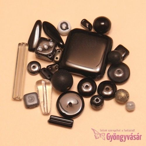 Fekete vegyes cseh gyöngy, 15 g