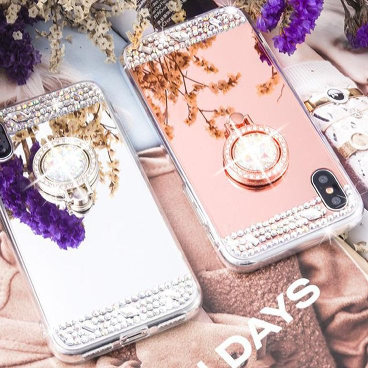 Luxury Lady Diamond Glitter Bling Soft Mirror Ring Holder Case For iPhone X 8 7 6 6S Plus 5 5S SE Back Cover Case Shell Coque