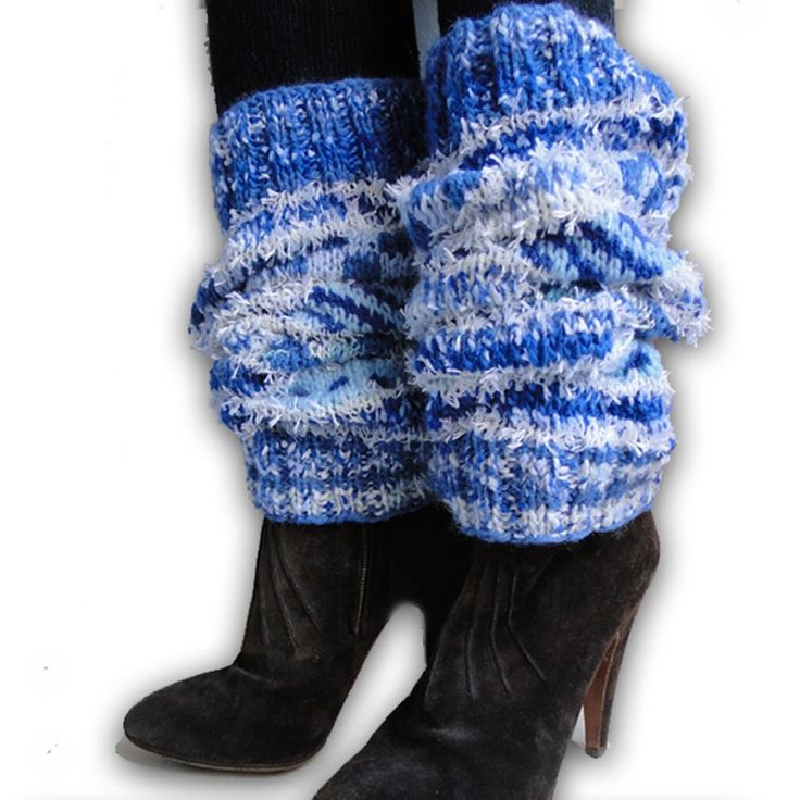 WOMEN S HANDMADE FAIR ISLE WOOL MIX LEG WARMERS DESIGNER LEGGINGS BLUES WHITE