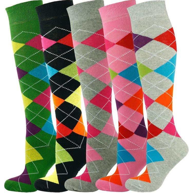 5 Pairs Knee High Argyle Socks