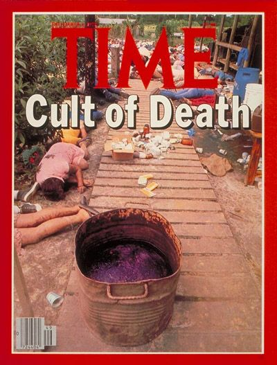 "James Warren ""Jim"" Jones November 18, 1978 was the founder and the leader of the Peoples Temple, best known for the cult murder/suicide 909 of its members in Jonestown, Guyana, and the murder of five individuals at a nearby airstrip. Over 200 children were murdered at Jonestown, almost all of them by cyanide poisoning in grape koolaid. Jones died from a gunshot wound to the head."
