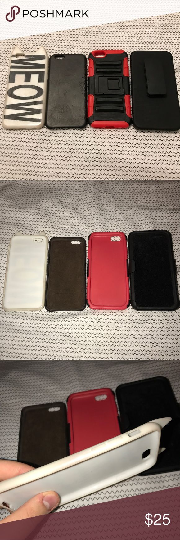 iPhone 6 / 6s Cases Lot Bundle H&M, Apple, Generic ♡condition - good to fair. white hm meow case has stains from use, brown case has bumps and worn down from use. red and black case with stand and holster is like brand new. ♡features - super cute, protective, and low cost apple cases!  ♡prices always negotiable ♡all items are cross-posted so grab them fast ♡tags - aesthetic alien grunge vintage 90s dream reality cute kawaii harajuku jfashion japanese fashion american spring summer sun skirt…