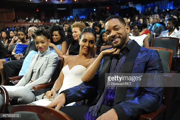 Willow Smith Jada Pinkett Smith and Will Smith attend the 'Black Girls Rock' BET Special at NJPAC – Prudential Hall on March 28 2015 in Newark New...