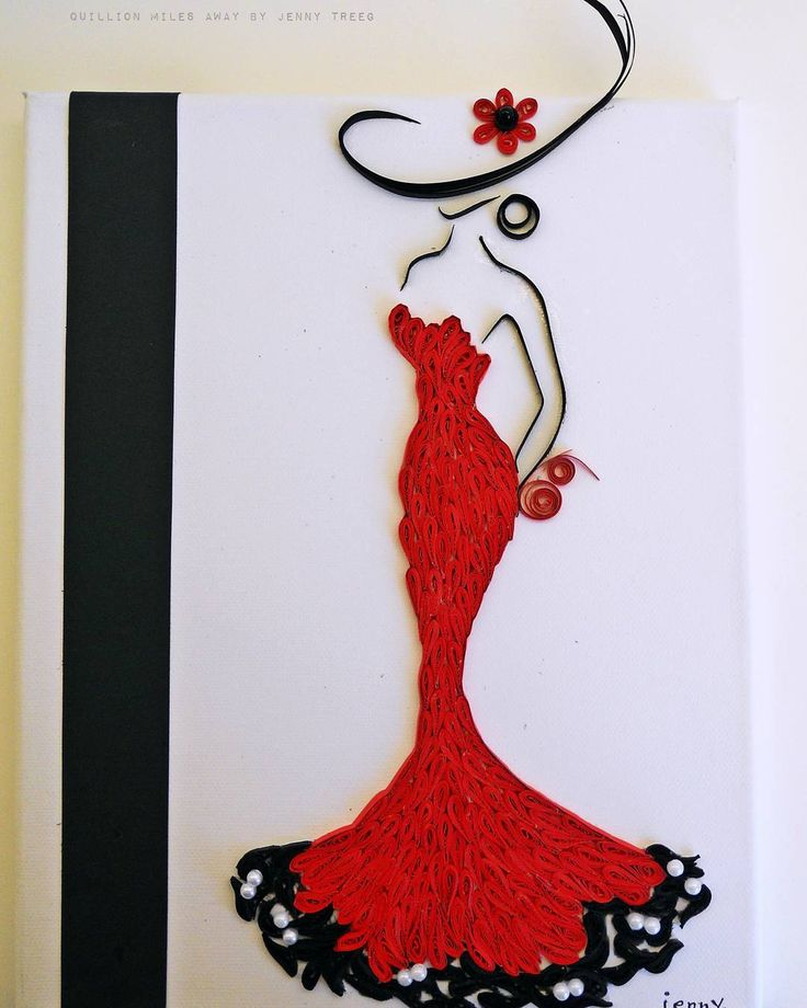 Project4: Human Touch #handmade #quillingpaper #quillingart #quilling #arts #madebyme #paper #jennytreeg #diva #hat #red #dress #strapless #pearl #beads