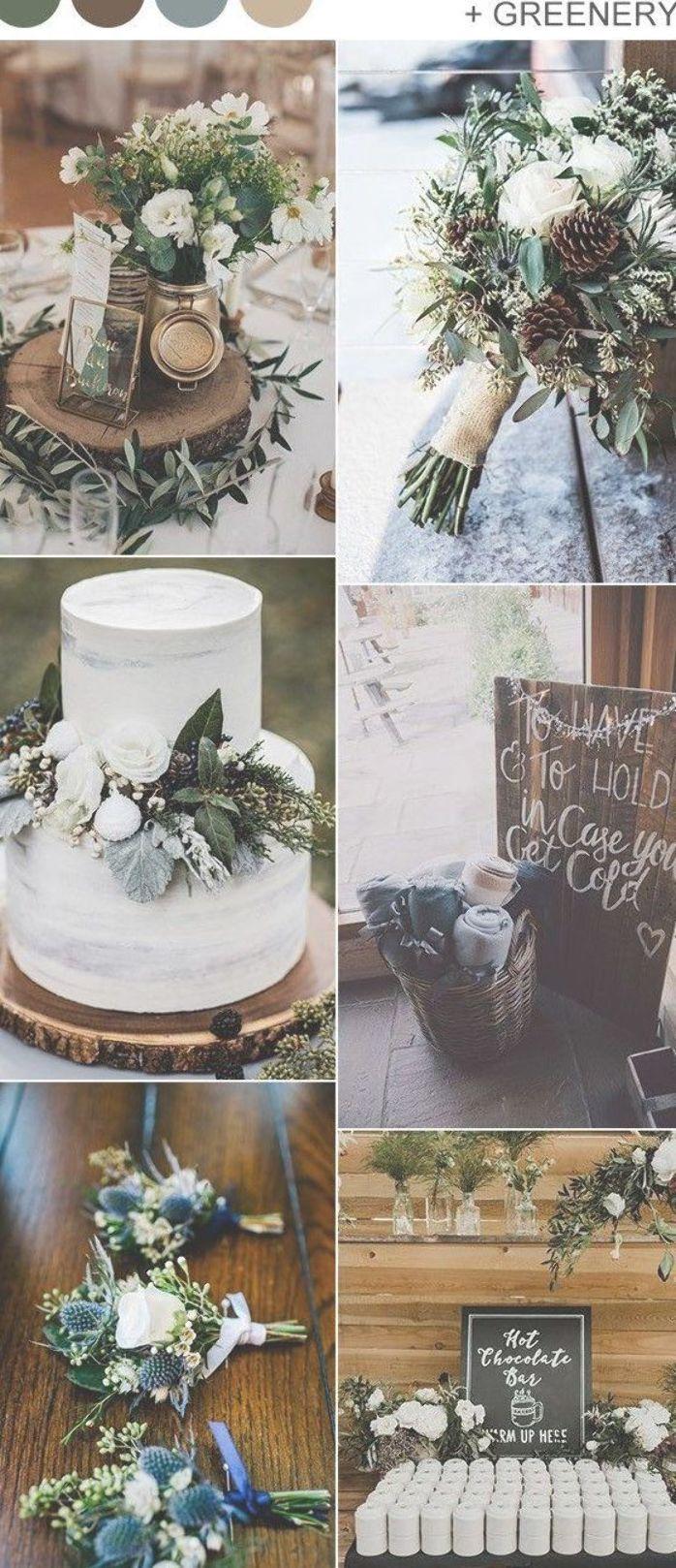 rustikale Wald- und Grünwinterhochzeits-Farbideen   – garden wedding ideas