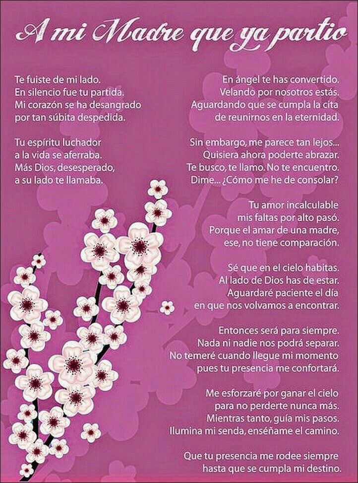 Pin By Susy Milk On Silencio Mom In Heaven Spanish Mothers Day Poems Mom Poems