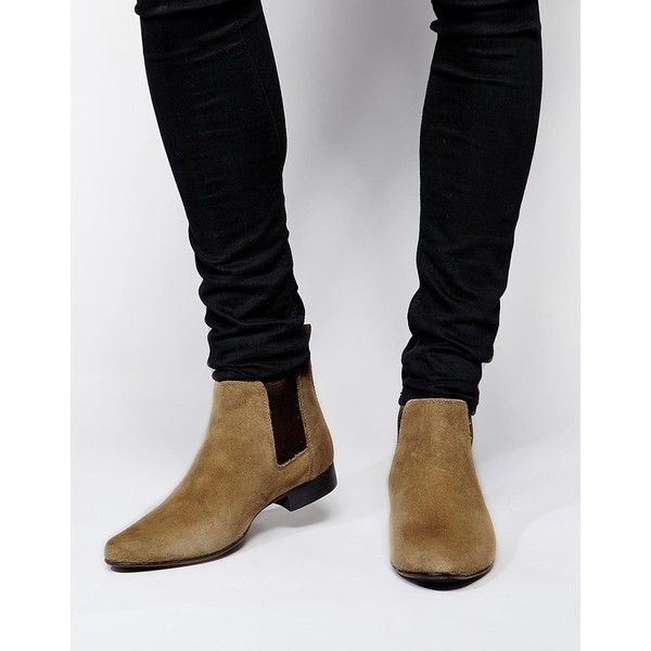 ASOS Chelsea Boots in Suede ($65) ❤ liked on Polyvore featuring men's fashion, men's shoes, men's boots, stone, mens pointed shoes, mens pointed toe boots, mens suede boots, mens pointy shoes and mens suede chelsea boots