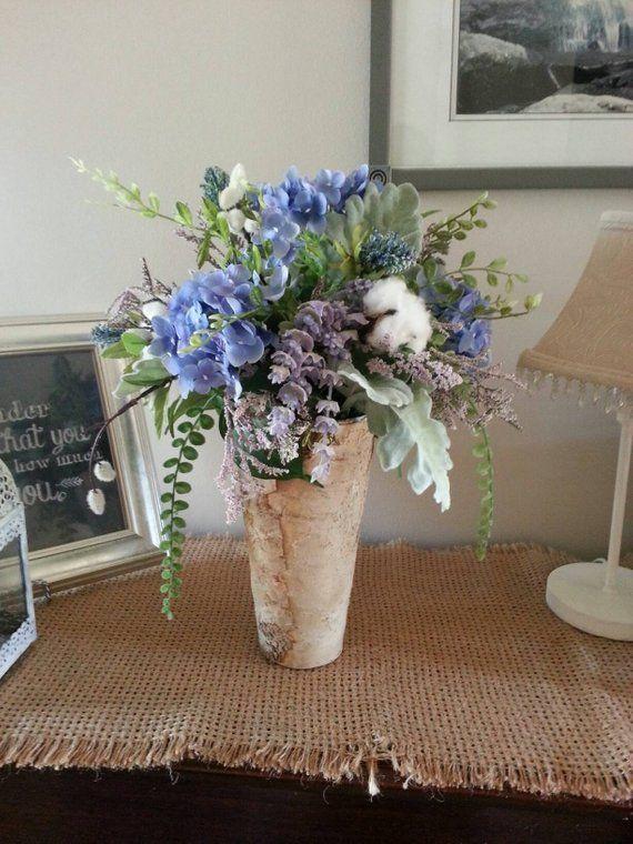 Faux Flower Arrangement Blue Hydrangeas Cotton Bolls Faux Flower Arrangements Hydrangea Flower Arrangements Rustic Flower Arrangements