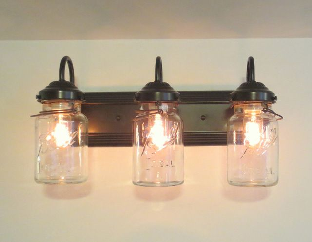 Vanity Lights Mason Jars : Bathroom Mason Jar TRIPLE Vanity Wall Sconce Light, Oil Rubbed Bronze farmhouse bathroom ...