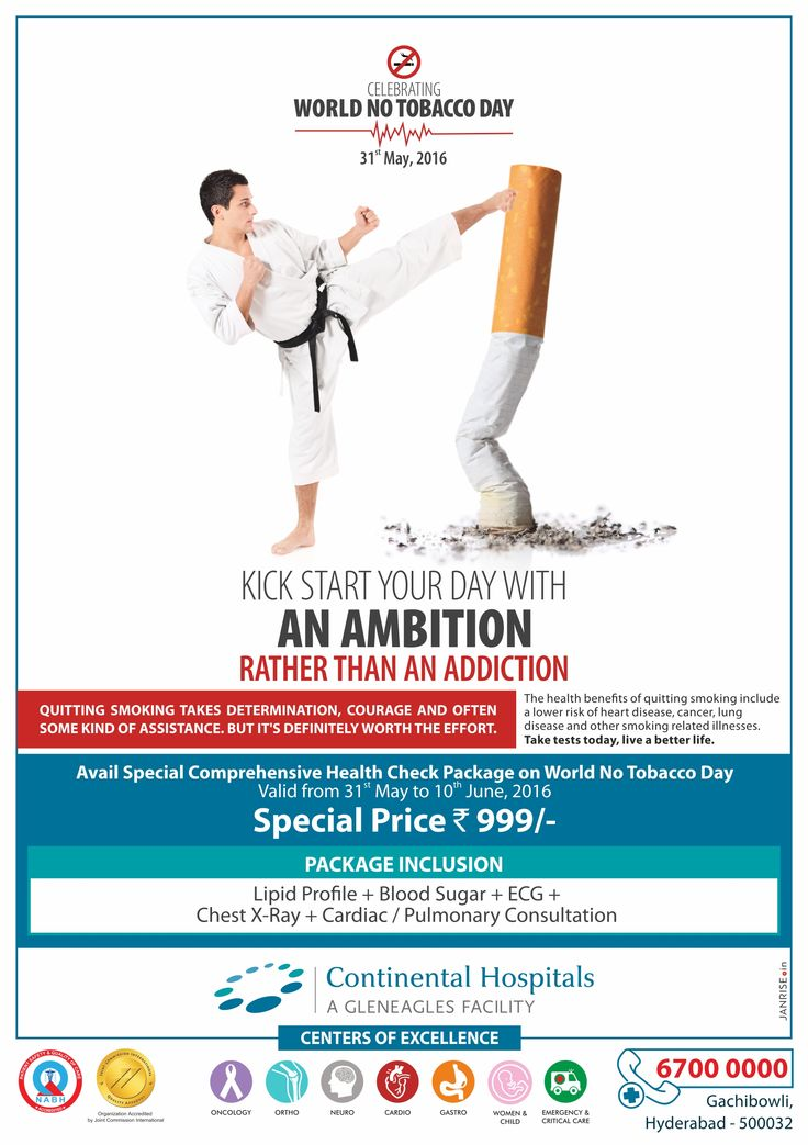 Let's make every day a No Tobacco Day - Say no to tobacco & stay healthy! Avail Special comprehensive health check-up package from 31st May to 10th June at Continental Hospitals. #WorldNoTobaccoDay