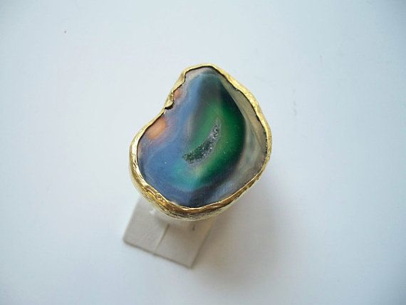 sale sale saleSpecial Green Agate Slice ring by beadycats on Etsy