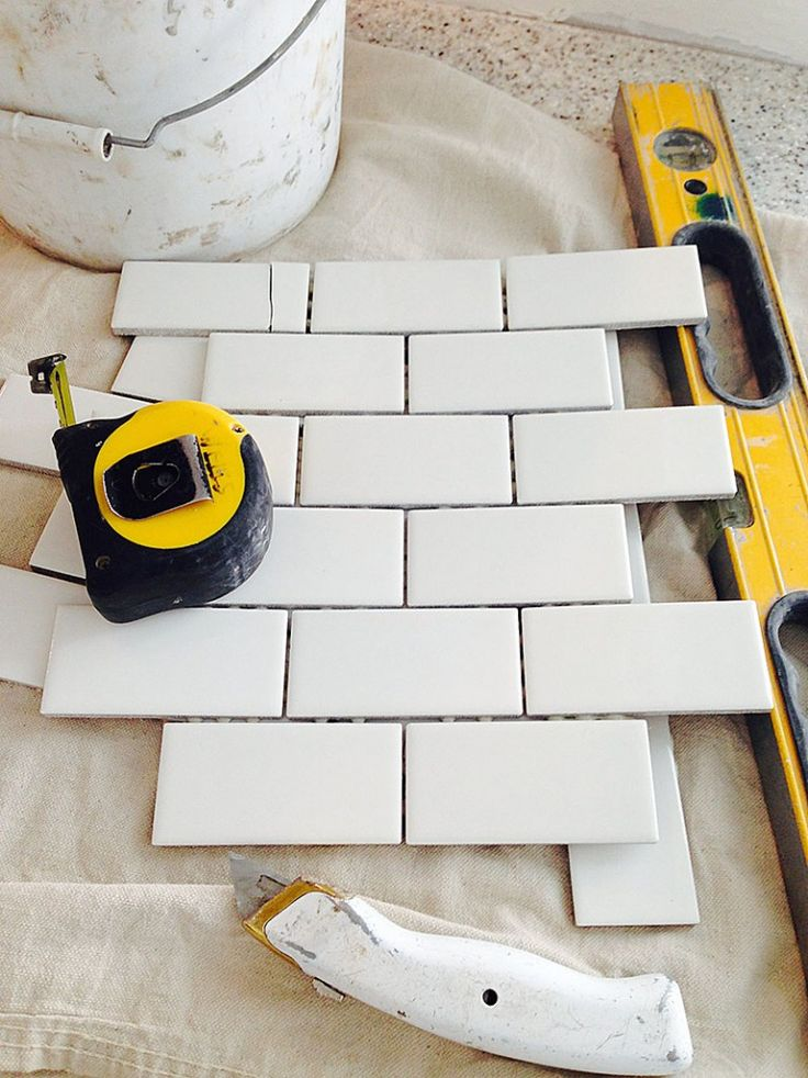 how to install subway tile backsplash (using mini tile sheets from Home Depot) via with heart