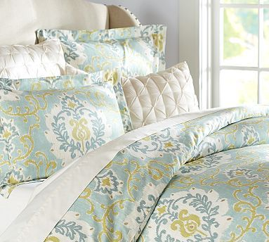 Joyce Ikat Duvet Cover & Sham #potterybarn ~ January 2014 sale $92 - $135 depending on size, not sure if it's blue, green or turquoise but it's very pretty  ~