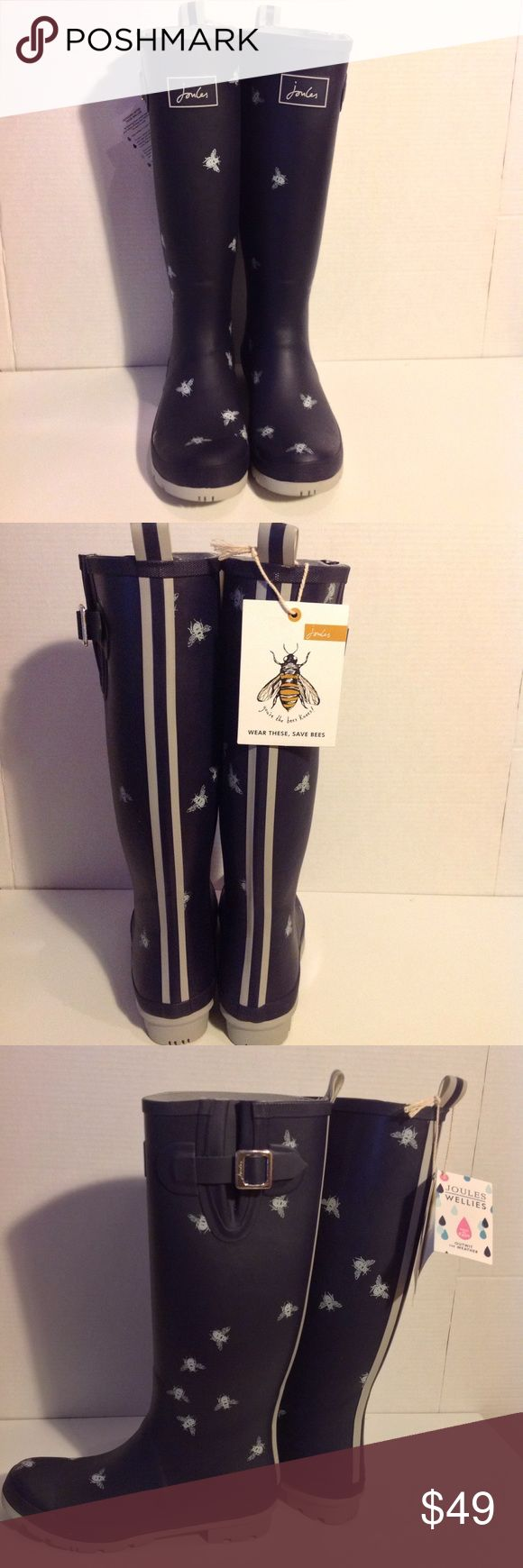 Joules Limited Edition Bee Print Welly Rain Boots Joules Women's Limited Edition Bee Print Wellies in navy and silver. Joules Shoes Winter & Rain Boots