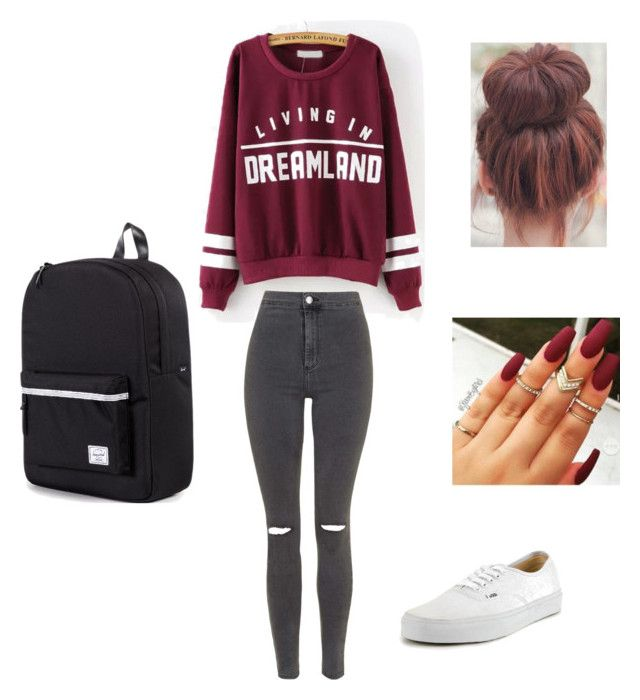 School sucks by itslacybabe on Polyvore featuring polyvore, fashion, style, Topshop, Vans and Herschel Supply Co.