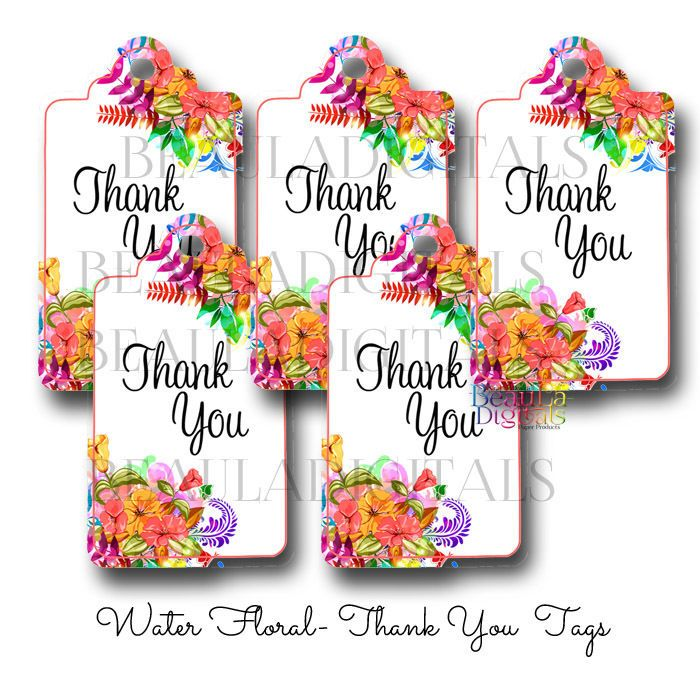 50 Water Floral  - Thank You Swing Tags - Paper Product - Printed Material