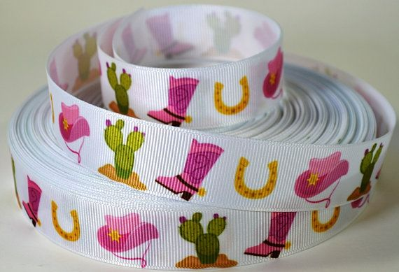 7/8 Western Cactus Boot Hat Horseshoe Grosgrain by RibbonStation