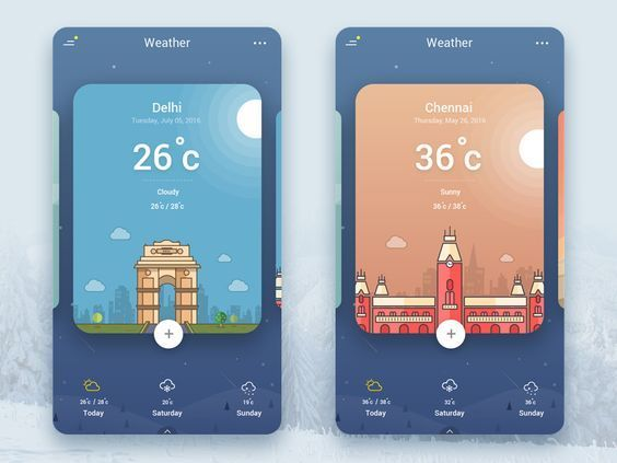 Weather App UI by Bh...