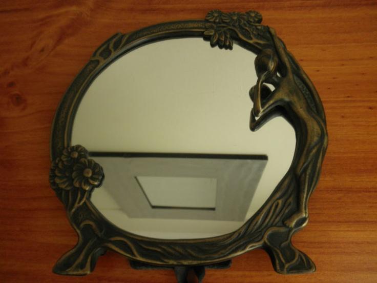 "ANTIQUE DECORATIVE BRASS ART DECO TABLE MIRROR ""NAKED WOMEN ADMIRING HERSELF"" | eBay"