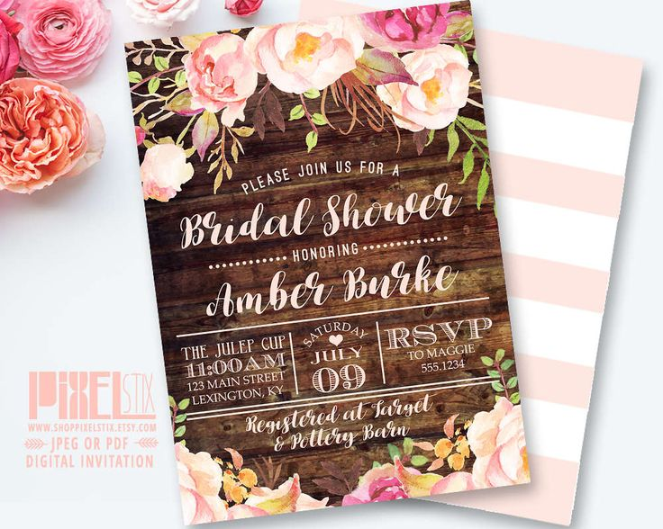220 best pixelstix bridal shower invitations images on pinterest rustic floral bridal shower invitation shabby chic invite peony and rose vintage wood filmwisefo Image collections