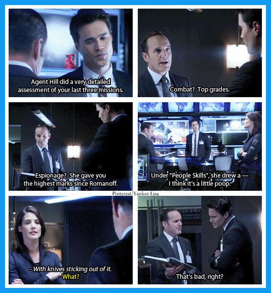 No one gives performance evaluations quite like Agent Hill, and Coulson is the king of giving feedback. Agent Ward is impressed.