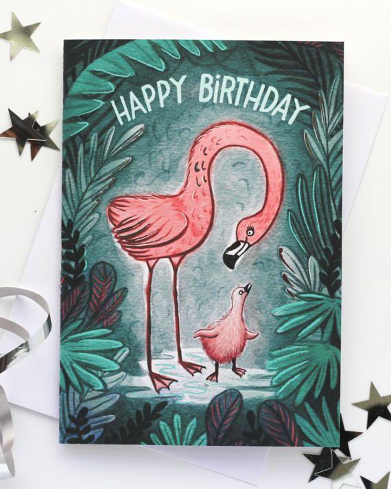 Flamingo baby illustrated birthday card by EmmaScheltema on Etsy