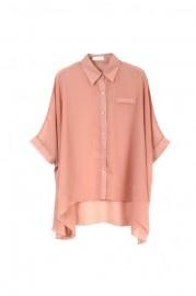 Batwing-sleeve Oversized Nude-pink Shirt  romwe.com #Romwe
