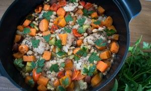 Rustic tarragon chicken, one pan bake - simple, nutritionally balanced meal is so tasty and quick to make.