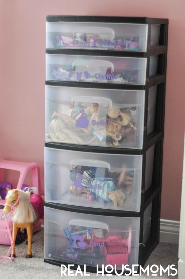 """Storage for G's barbies - Shoes, Brushes and """"Where is Ken?"""": Organizing Barbie Clutter - Real Housemoms"""