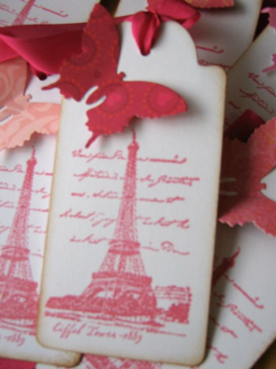 Eiffel Tower French Paris Gift Tags Pink Butterfly