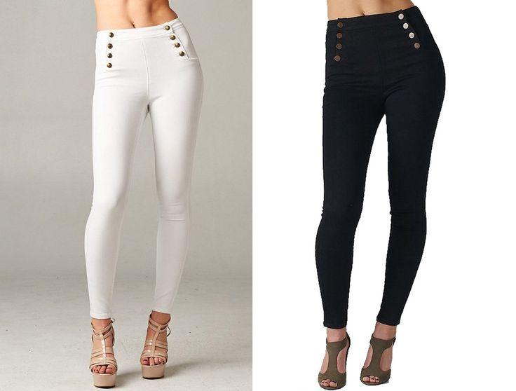 Sailor High Waisted Skinny Jeans Stretch Denim Jeggings Cello Black White Pants