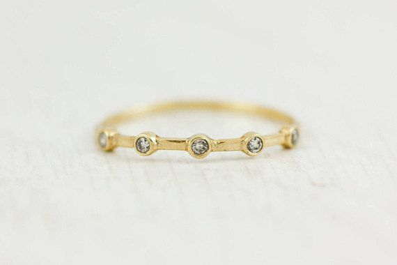 Dainty Diamond Ring, 5 Diamond Ring, Bezel Diamond Ring, 14K Rose Gold Ring, White Diamond Gold Band, Wedding Band, Engagement Ring, GR0246