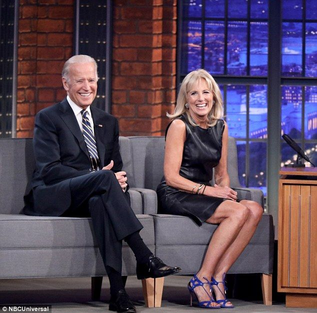 Joe Biden appeared on NBC's Late Night chatshow on Wednesday along with his wife Dr. Jill Biden