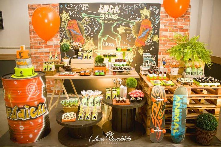 Festa Skate https://www.instagram.com/encontrandoideias/ Quer ver mais ideias lindas www.blogencontrandoideias.com