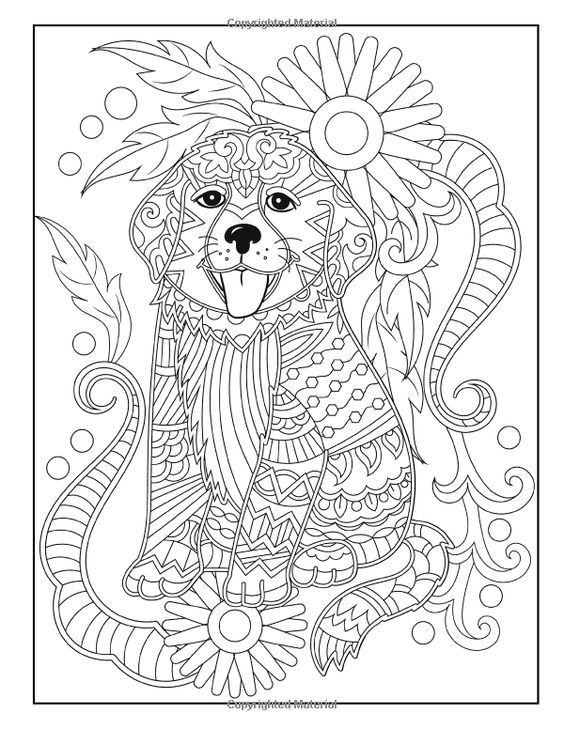855 best coloring dog images on pinterest animal babies for Easy adult coloring pages