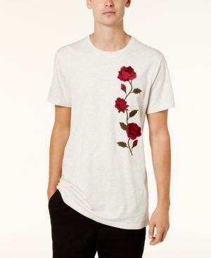 American Rag Men's Long Length Rose Embroidered T-Shirt, Created for Macy's - Tan/Beige 2XL